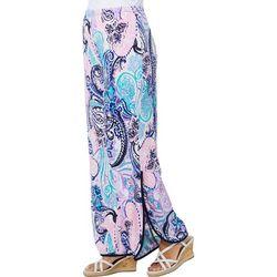 Coco Bianco Womens Paisley Diagonal Hem Pull On Pants