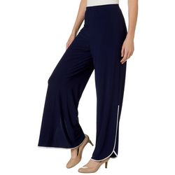 Coco Bianco Womens Solid Contrasting Trim Pull On Pants