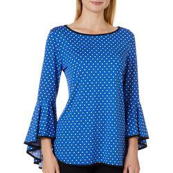 Coco Bianco Womens Dot Print Bell Sleeve Top