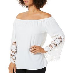 Coco Bianco Womens Solid Off The Shoulder Lace Sleeve Top