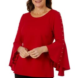 Coco Bianco Womens Solid Button Embellished Bell Sleeve Top