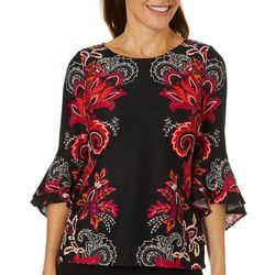 Coco Bianco Womens Floral Paisley Print Bell Sleeve Top