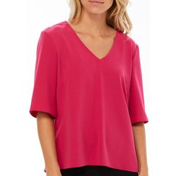 Coco Bianco Womens Solid Zip-Up Back Woven Top
