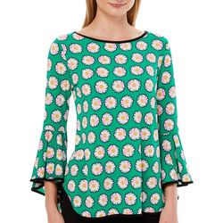 Coco Bianco Womens Daisy Flower Printed Bell Sleeve Top