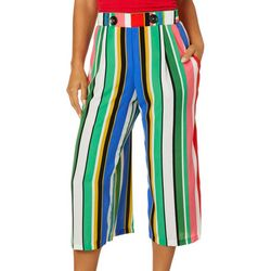 Coco Bianco Womens Multi Striped Cropped Palazzo Pants