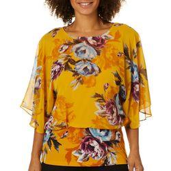 Coco Bianco Womens Floral Print Blouson Top