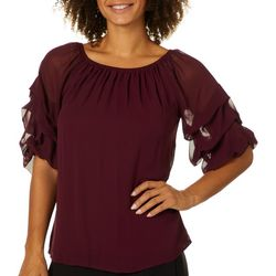 Coco Bianco Womens Solid Bubble Sleeve Top