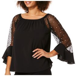 Coco Bianco Womens Pearl Mesh Bell Sleeve Top