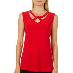 Notations Womens Solid Cut Out V-Neck Sleeveless Top