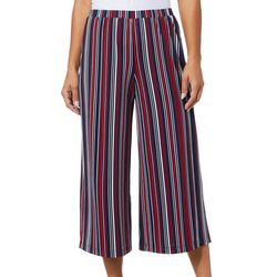 Notations Womens Striped Gaucho Pull-On Pants