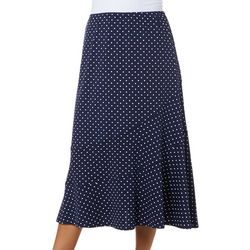 Notations Womens Dot Print Pull On Skirt