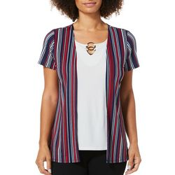 Notations Womens Striped Short Sleeve Duet Top