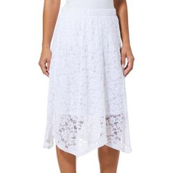 Notations Womens Solid Floral Lace Pull On Skirt