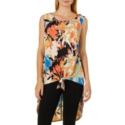NY Collection Womens Painted Print Tie Front Sleeveless Top