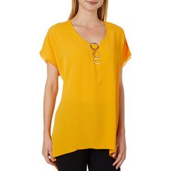 NY Collection Womens Solid Three Ring Neck Sharkbite Hem Top