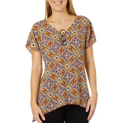 NY Collection Womens Floral Ring Neck Sharkbite Hem Top