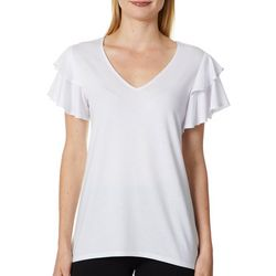 Notations Womens Solid Double Ruffle Short Sleeve Top