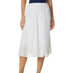 Notations Womens Solid Godet Pull On Skirt