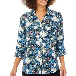 NY Collection Womens Button Down Floral Paisley Top