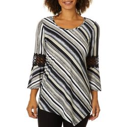NY Collection Womens Striped Crochet Bell Sleeve Top
