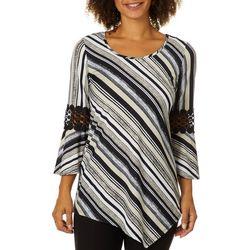 9a4e17e0b5e NY Collection Womens Striped Crochet Bell Sleeve Top