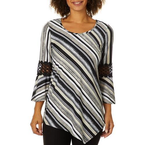 aabc6cb7aa8 NY Collection Womens Striped Crochet Bell Sleeve Top