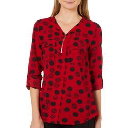 NY Collection Womens Plaid Dot Roll Tab Zip Top