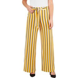 Notations Womens Tie Front Striped Ity Pants