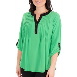 Notations Womens Pleated Roll Tab Top