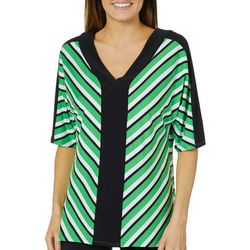 NY Collection Womens Mixed Striped Top