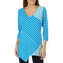 NY Collection Womens Striped Asymmetrical Top