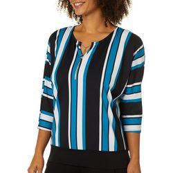 NY Collection Womens Striped Charm Neck Top