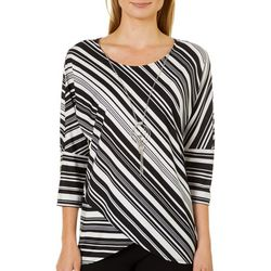 Notations Womens Necklace & Layered Striped Top