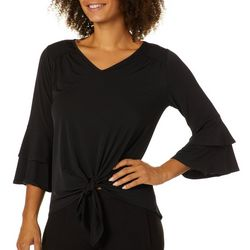 Notations Womens Tie Front Ruffle Sleeve Top