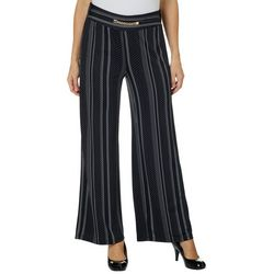 Notations Womens Chain Front Dotted Stripe Pants