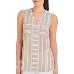 NY Collection Womens Zip Front Striped Top