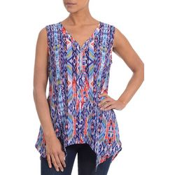 NY Collection Womens Zip Front Ikat Print Top