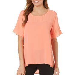 NY Collection Womens Solid Pleat Sleeve High-Low Top