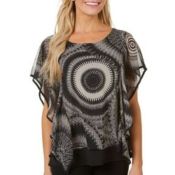 NY Collection Womens Medallion Print Poncho Top