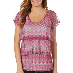 NY Collection Womens Tiered Medallion Print Mesh Top