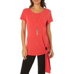 Notations Womens Necklace & Solid Side Tie Top