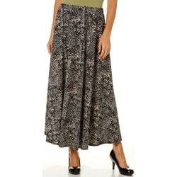 Notations Womens Feathered Print Maxi Skirt