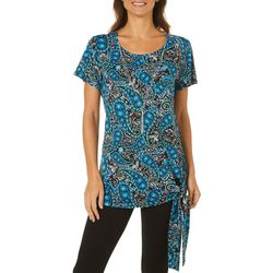 Notations Womens Necklace & Paisley Side Tie Top