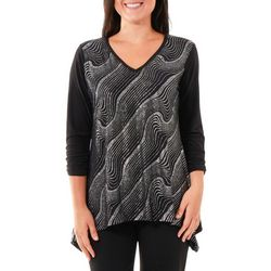NY Collection Womens Metallic Swirl Sharkbite Hem Top