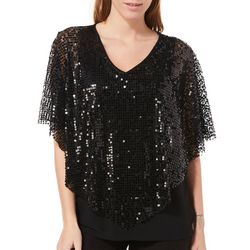 NY Collection Womens Sequin Popover Top