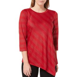 NY Collection Womens Embellished Textured Striped Top