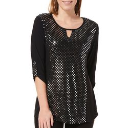 NY Collection Womens Disco Dot Keyhole Top