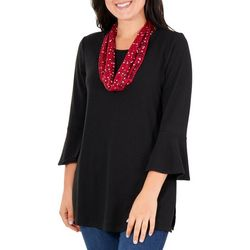 Notations Womens Scarf & Bell Sleeve Tunic Top