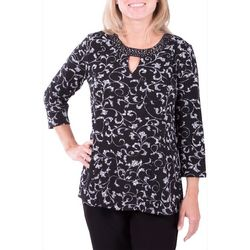 Notations Womens Textured Scroll Print Keyhole Top