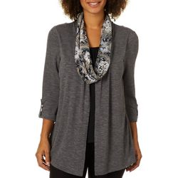 Notations Womens Scarf & Heathered Duet Top